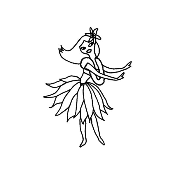 Hawaiian Traditional Dance Hula Girl Coloring Pages