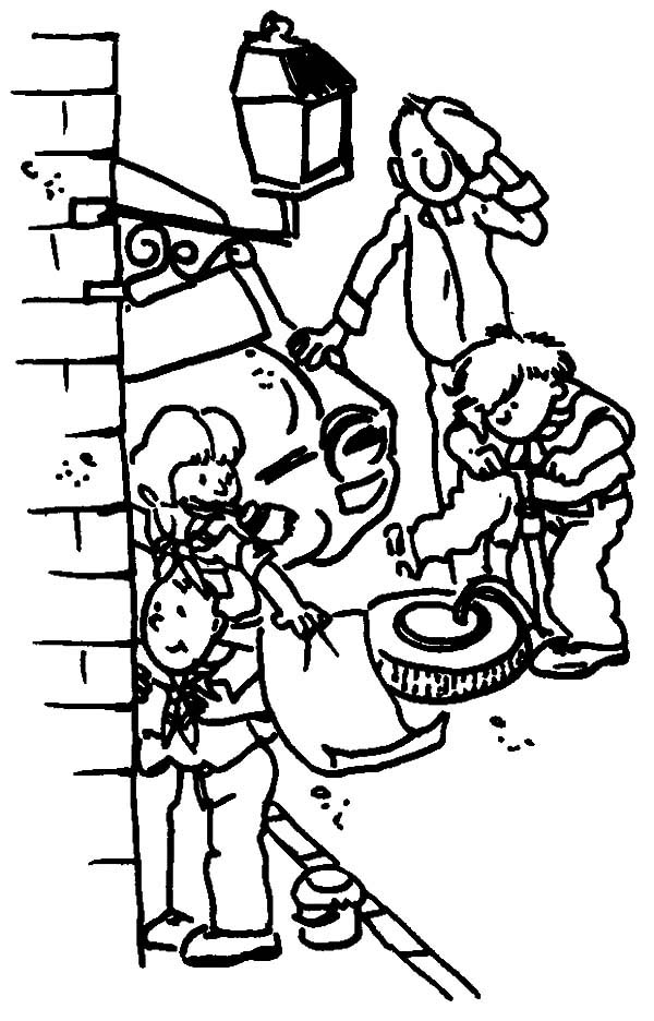 coloring pages children helping - photo#31