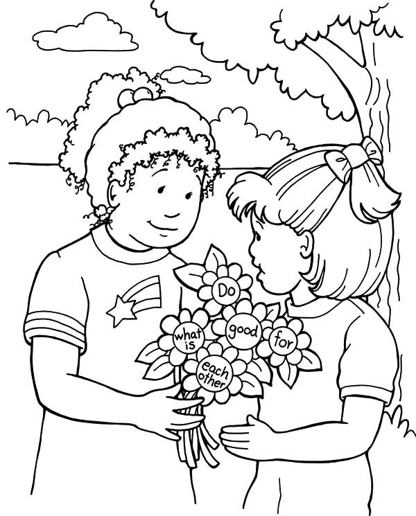 Helping Others Give Other People Bouquet Of Flower Coloring Pages