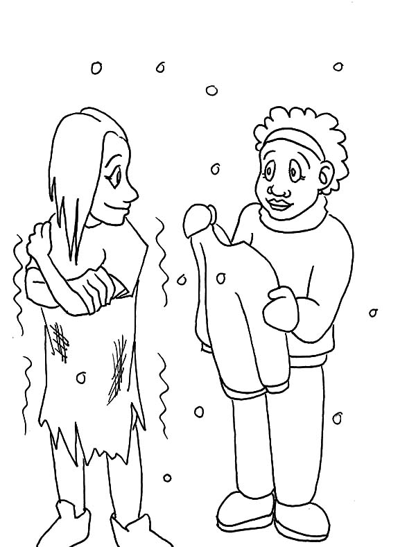 Coloring pages about gving ~ Helping Others Give Warm Clothes to Homeless People ...