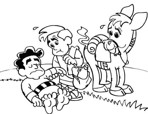 helping others unconscious man beside road coloring pages