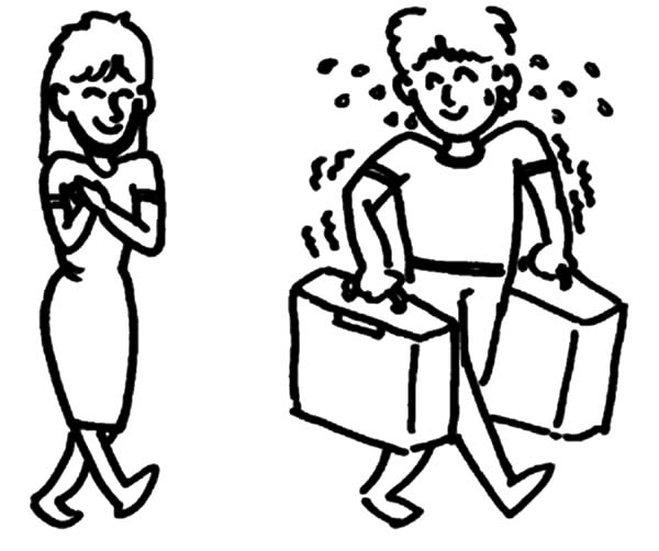 Helping A Girl Carry Her Bag And Suitcase Others Coloring Pages