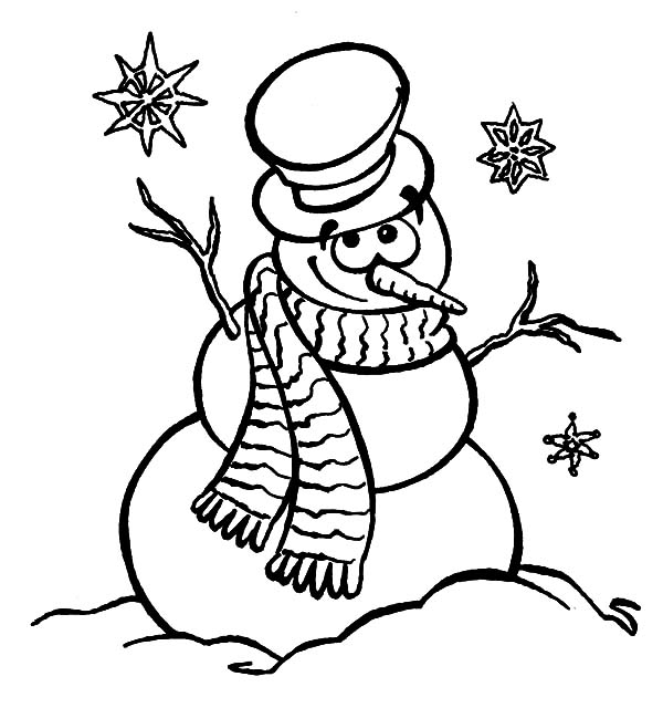 Holidays Gentle Snowman Coloring Pages