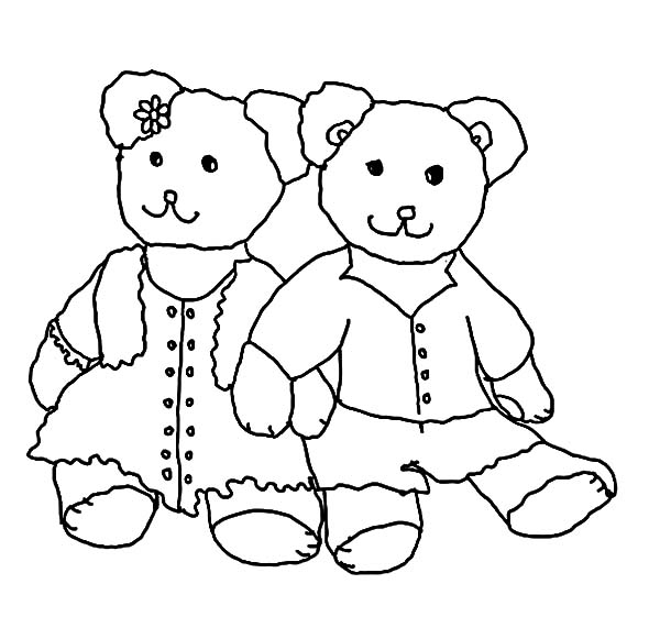 Holidays Teddy Bear Cute Couple Coloring Pages: Holidays Teddy Bear ...