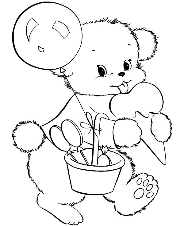 Holidays Teddy Bear Eating Ice Cream Coloring Pages