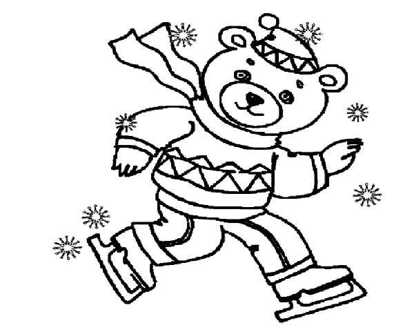 Holidays Teddy Bear Winter Ice Skating Coloring Pages