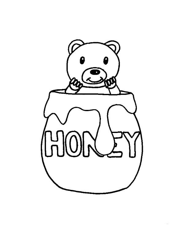 Honey Bear Hide in Honey Jar Coloring Pages | Coloring Sky