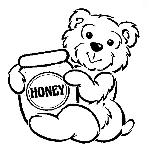 Honey bear hug honey pot coloring pages