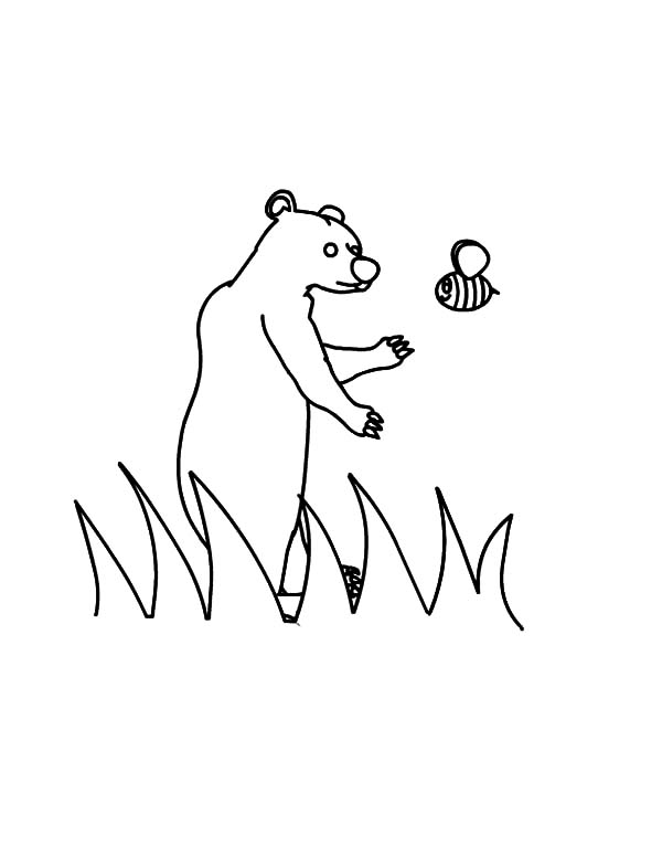 Honey Bear Meet Bee Coloring Pages