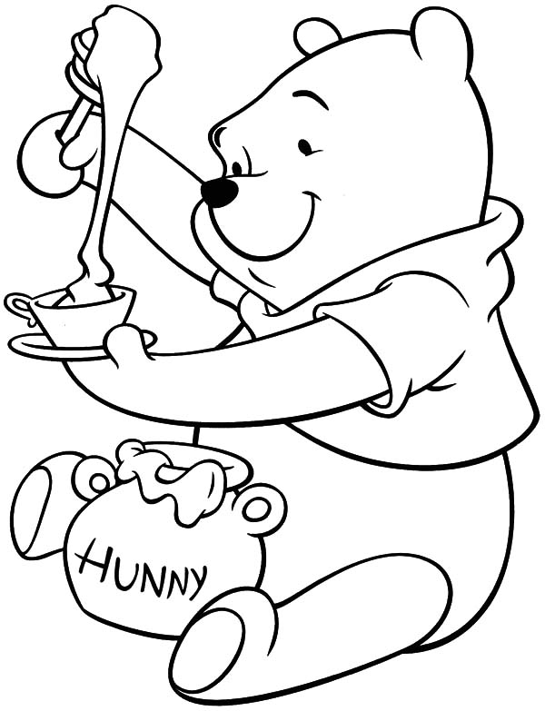 Honey Bear Put Honey in Bowl Coloring Pages | Coloring Sky