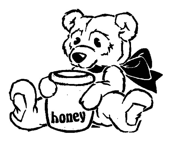 Honey Bear Sitting With Pot Coloring Pages