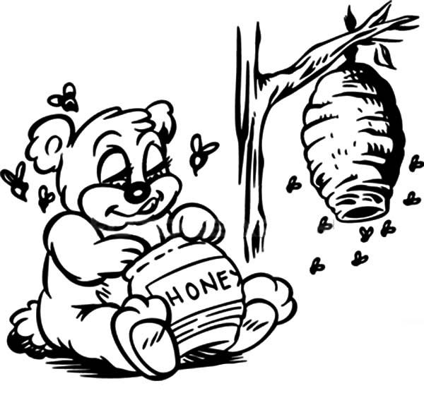 Queen Bear Eat Honey Bee Coloring
