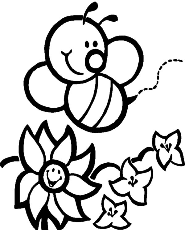 Honey Bee Arrived To Flower Garden Coloring Pages