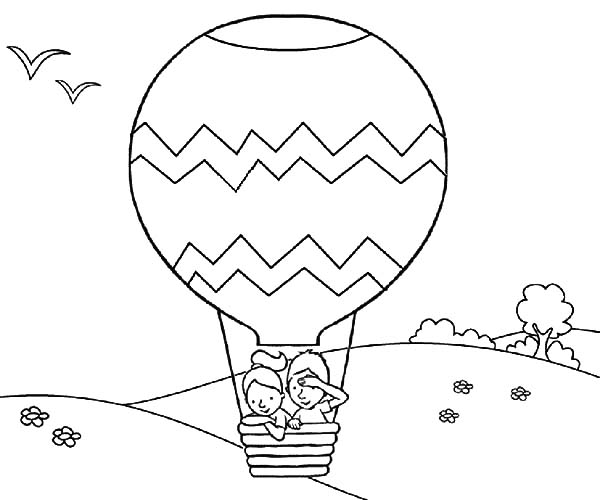 Hot Air Balloon Take Off Coloring Pages