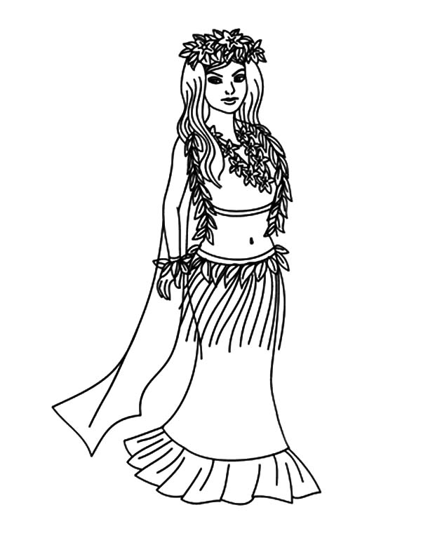 Hula girl coloring pages for kids