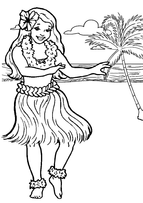 Hula Girl Dancing At The Beach Coloring Pages