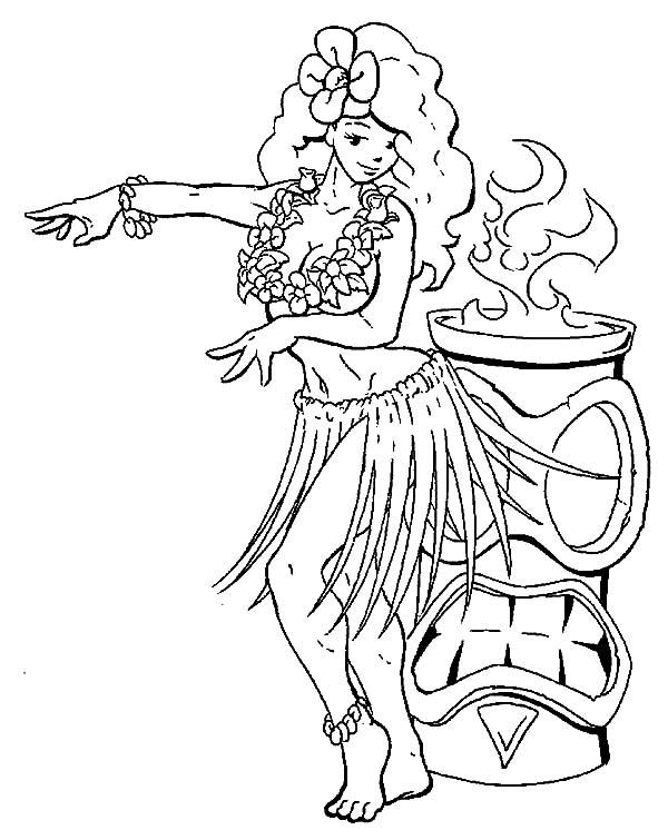 Hula girl hula girl perform beside fire coloring pages hula girl perform beside fire