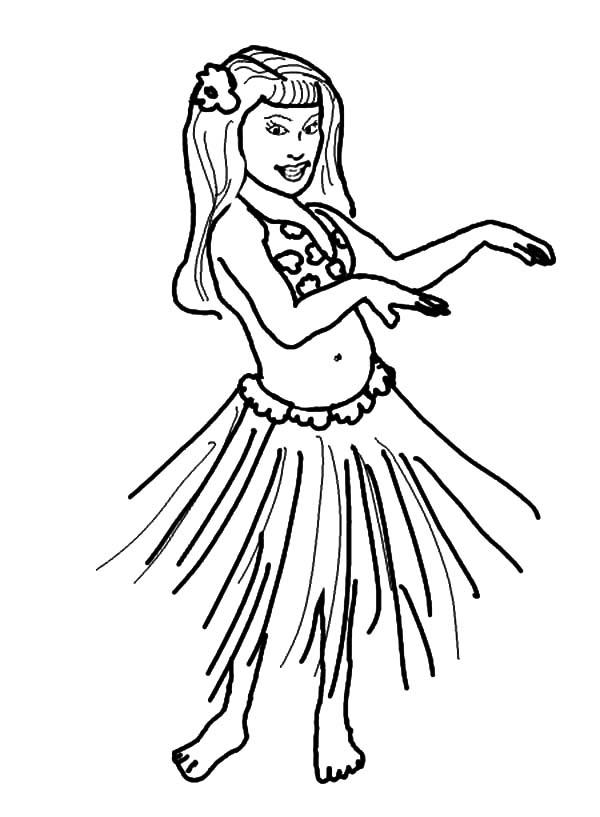 hawaiian hula dancers coloring pages | Hula Girl Performing Hawaiian Dance Coloring Pages ...