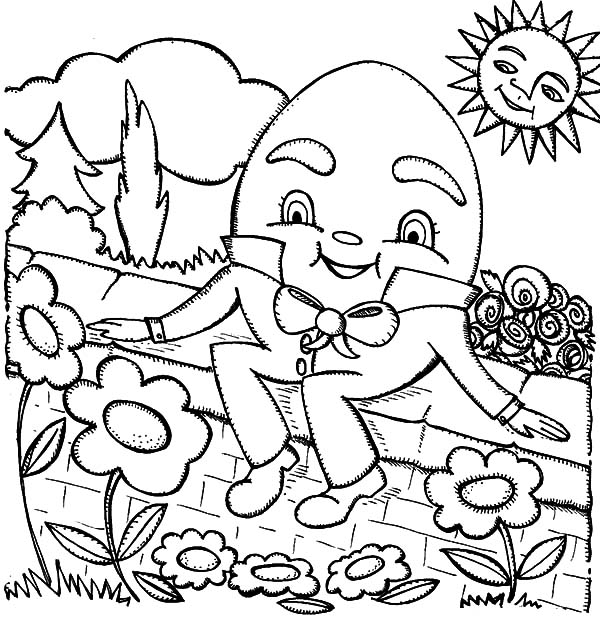 humpty dumpty sat on a wall with clouds and bird coloring pages
