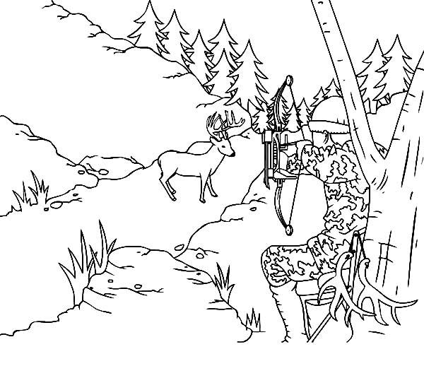 hunting deer with camouflage coloring pages - Hunting Coloring Pages
