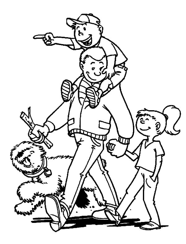 I Love Dad, : I Love Dad Going to Park with Daddy Coloring Pages
