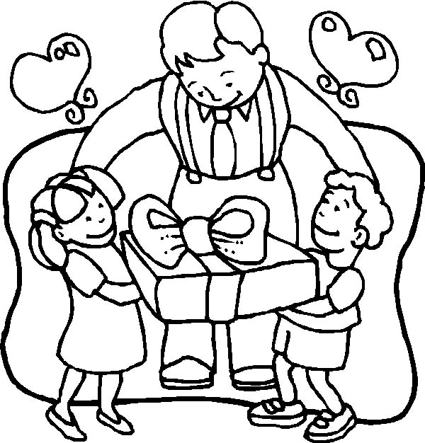 I Love Dad, : I Love Dad Here Present from Us Coloring Pages