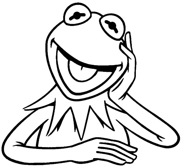 Kermit the frog laughing coloring pages