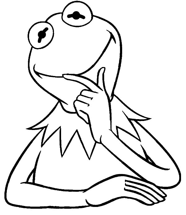 Kermit the frog thinking coloring pages