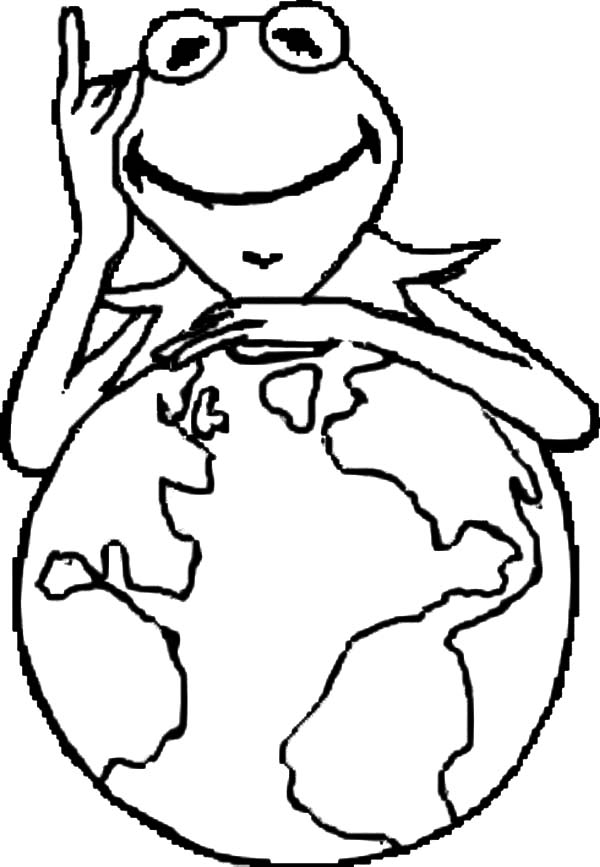 Kermit the Frog and the Globe Coloring Pages Coloring Sky