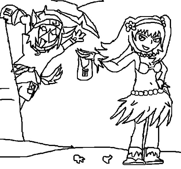 Kids Drawing Hula Girl Coloring Pages