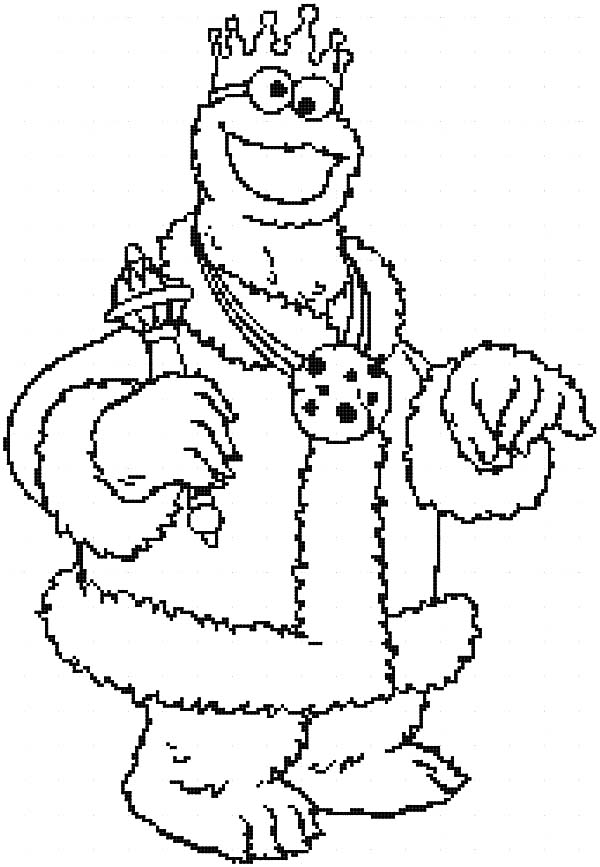 King Cookie Monster Coloring Pages Coloring Sky