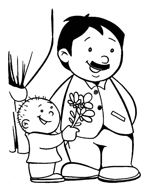 Little Boy Give His Father A Flower I Love Dad Coloring Pages