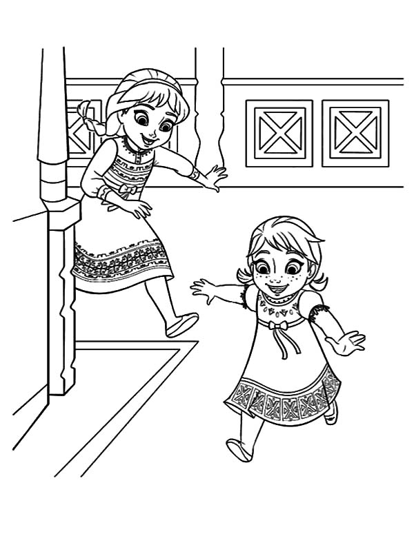 Little elsa chase little anna coloring pages coloring sky for Elsa and anna coloring page