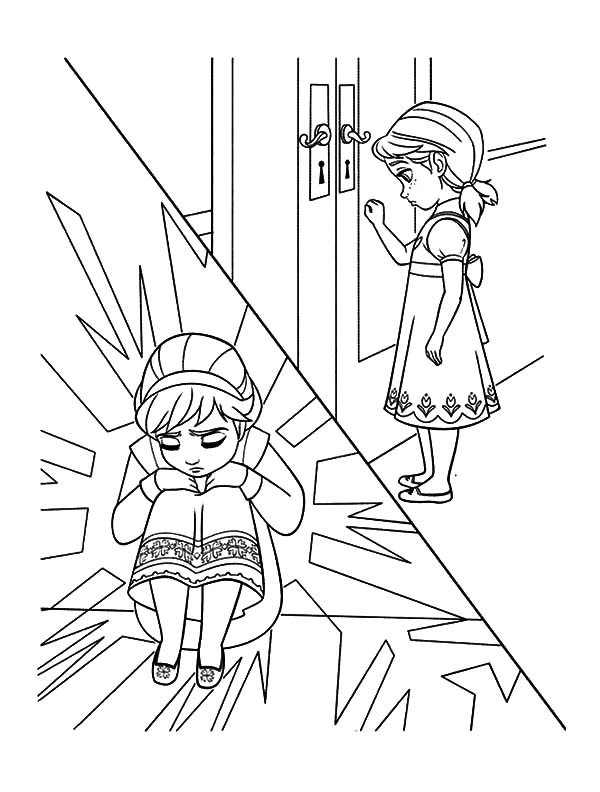 Little Elsa Hide from Little Anna Coloring Pages | Coloring Sky