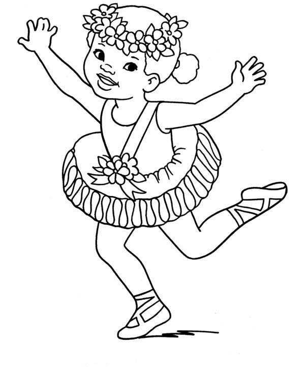Little Girl on Ballet Competition Coloring Pages: Little Girl on ...
