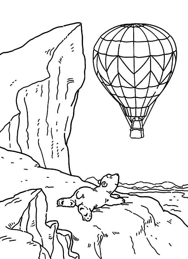 Hot Air Balloon Outline Coloring Pages | Coloring Sky