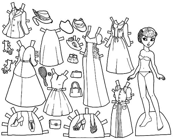 Marisole 1940 Doll Dress Coloring Pages | Coloring Sky