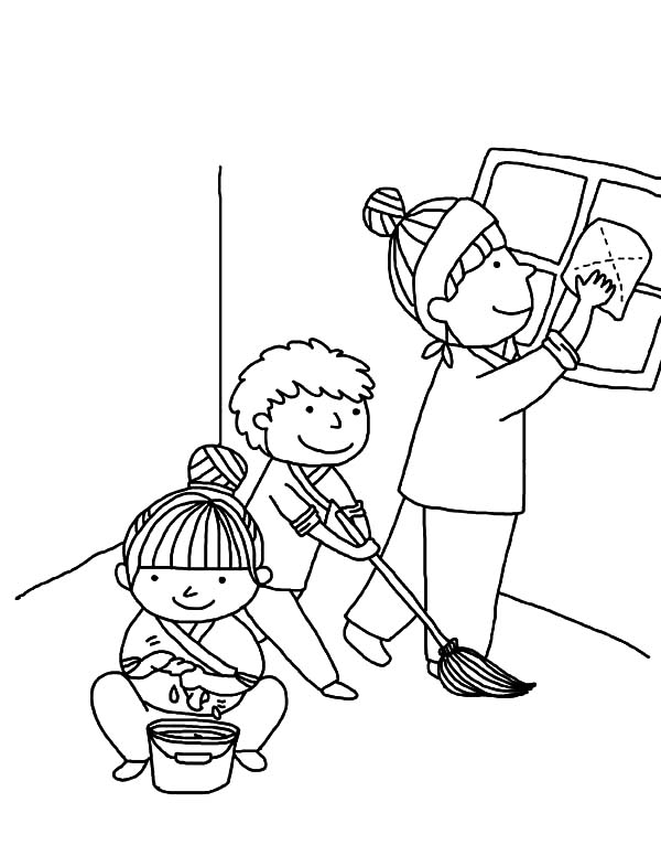 cartoon people helping each other sketch coloring page