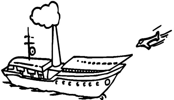 plain is approaching to aircraft carrier coloring pages