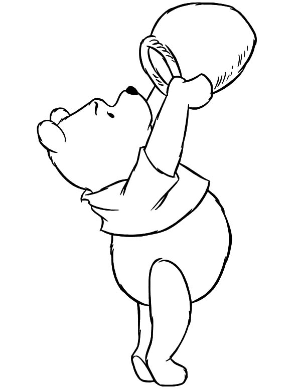 pooh honey bear checking empty honey jar coloring pages coloring sky