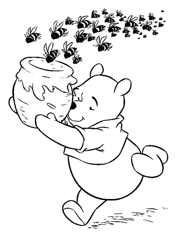 Pooh the honey bear pursued by school of bees coloring pages