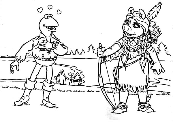 kermit the frog porkahantas and john smith kermit the frog coloring pages - Kermit The Frog Coloring Pages