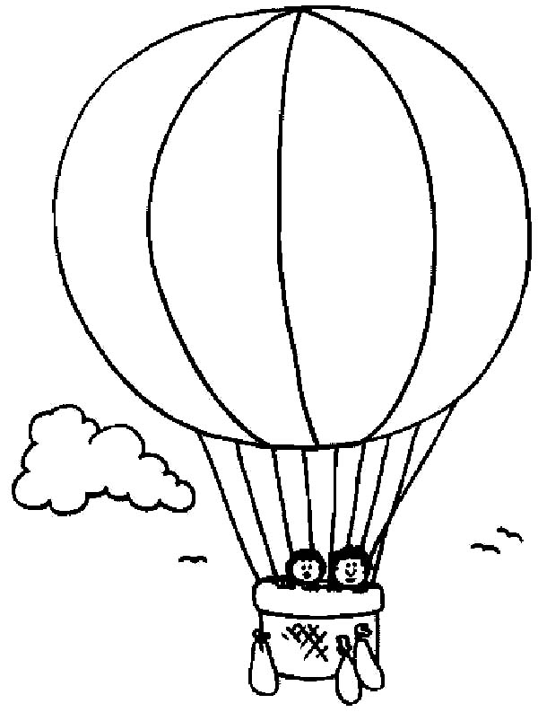 Hot Air Balloon with Flags Coloring