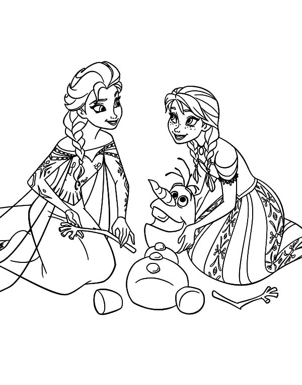 Elsa Princess Anna Queen And Olaf Coloring Pages