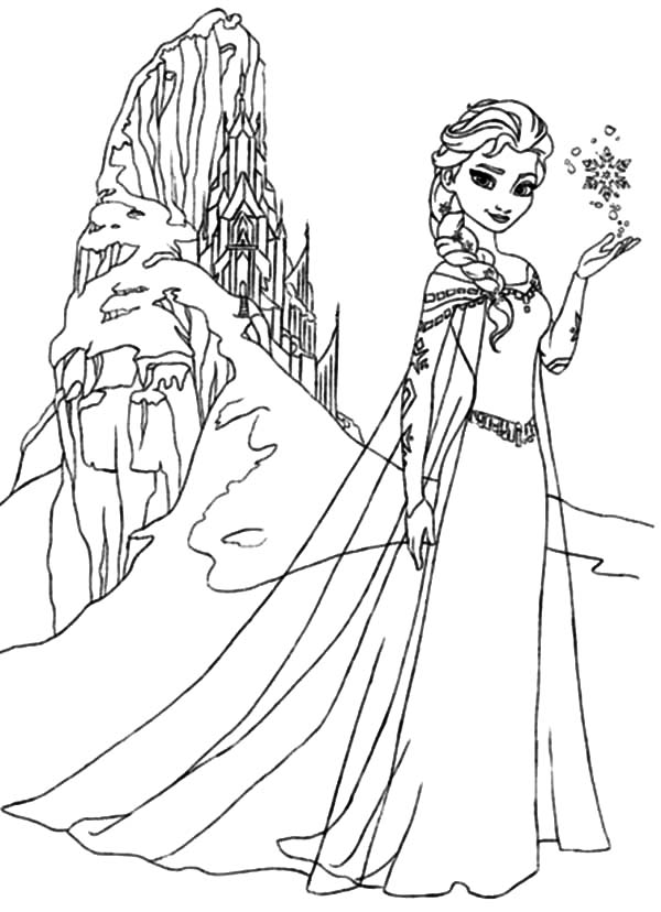 Queen Elsa Amazing Ice Castle Coloring Pages | Coloring Sky