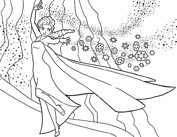 queen elsa build her castle coloring pages