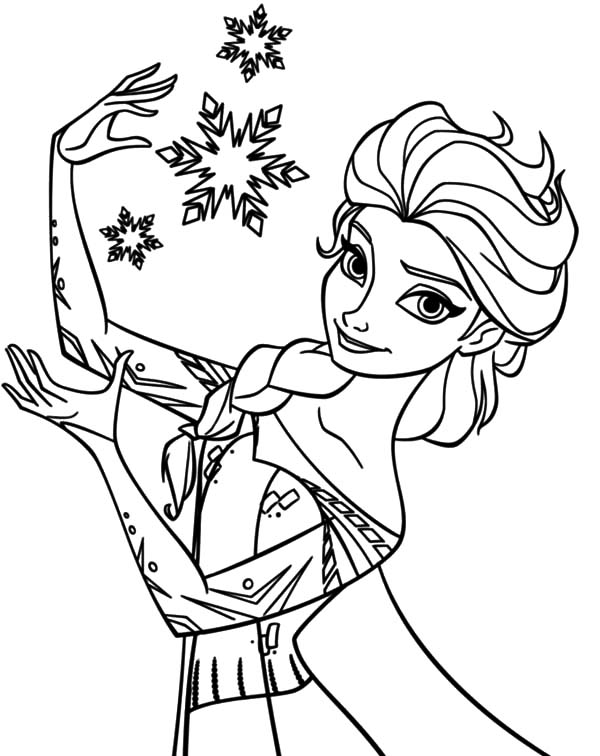 Queen Elsa Create Beautiful Snowflake Coloring Pages | Coloring Sky