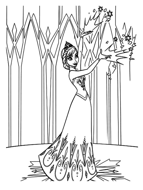 Queen Elsa Decorating Her Castle Coloring Pages