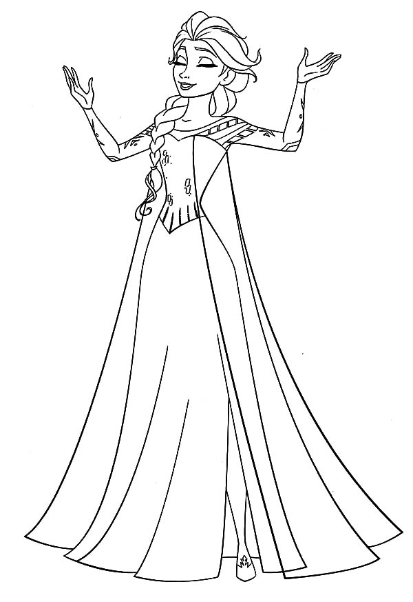 Elsa Queen Singing Coloring Pages PagesFull Size Image