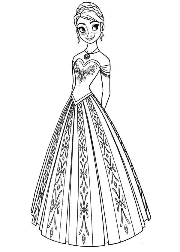 Queen elsa dress coloring pages